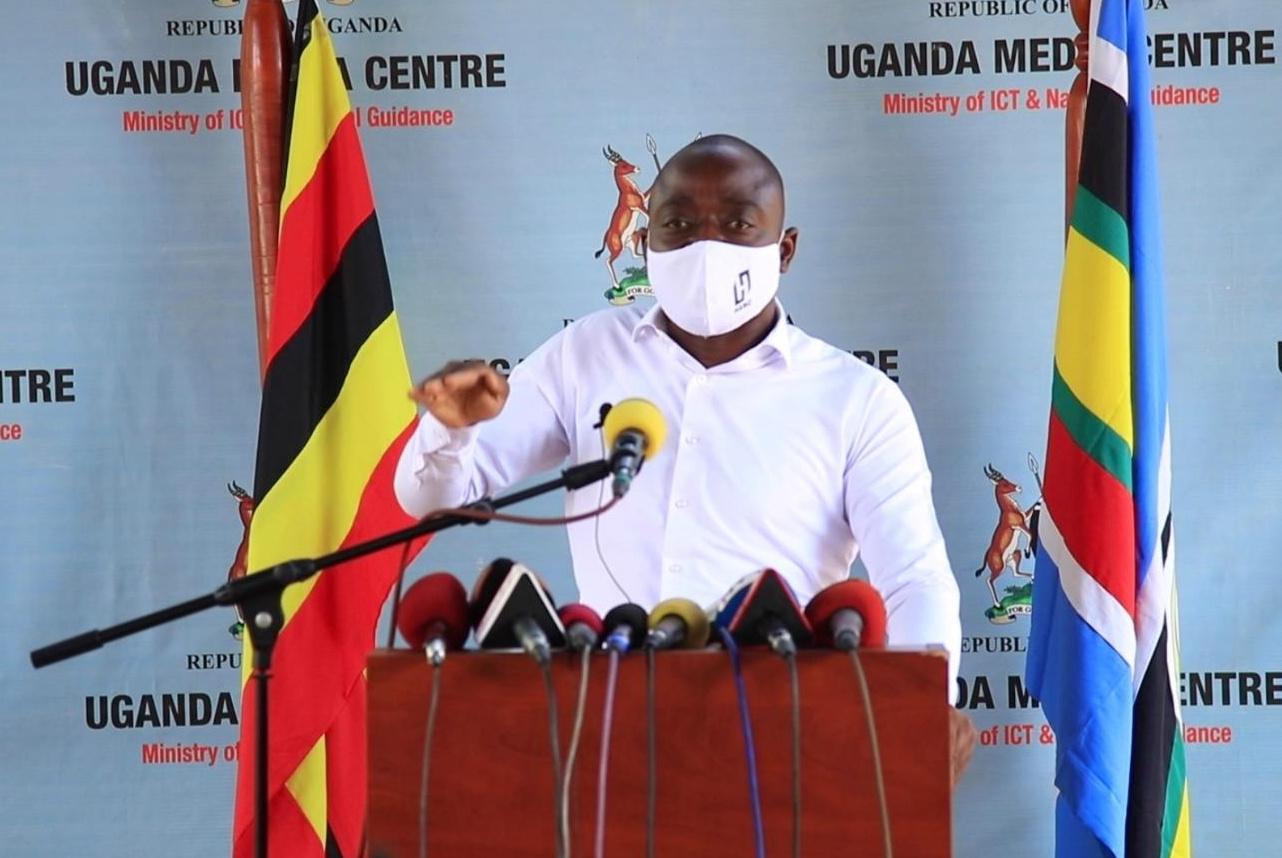 City mogul Hamis Kiggundu speaking to the press at the Uganda Media Center on Thursday (PHOTO/Courtesy).