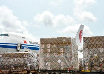 China's medical supplies for 18 African countries arrive at the Kotoka International Airport in Accra, Ghana, April 6, 2020. (Xinhua/Xu Zheng).