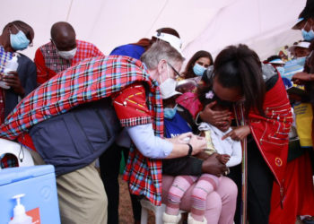 A doctor vaccinating a child at the launch (PHOTO/Courtesy).