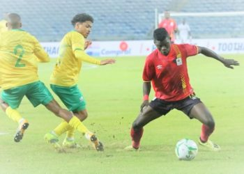 Ibrahim Orit put Uganda ahead but The Cranes lost 2-3 to South Africa. (PHOTO/Courtesy)