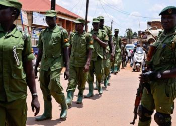 Members of Local Defence Unit - LDU move in a single file formation as they enforce Covid-19 laws. (File)