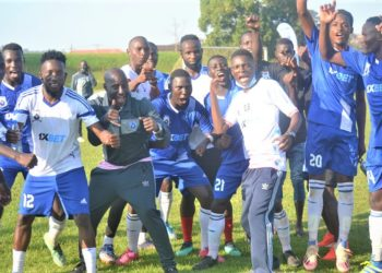 Tooro United players, officials celebrate their qualification into the Uganda Premier League. (PHOTO/Courtesy)