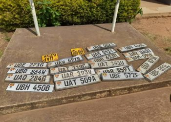 Some of the recovered motor vehicle number plates (PHOTO/Courtesy).