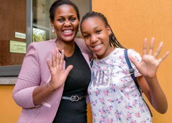 Dr Pamela Mwebaze Songa with daughter Hanna Mwebaze who got aggregate 5 in PLE (PHOTO/Courtesy).