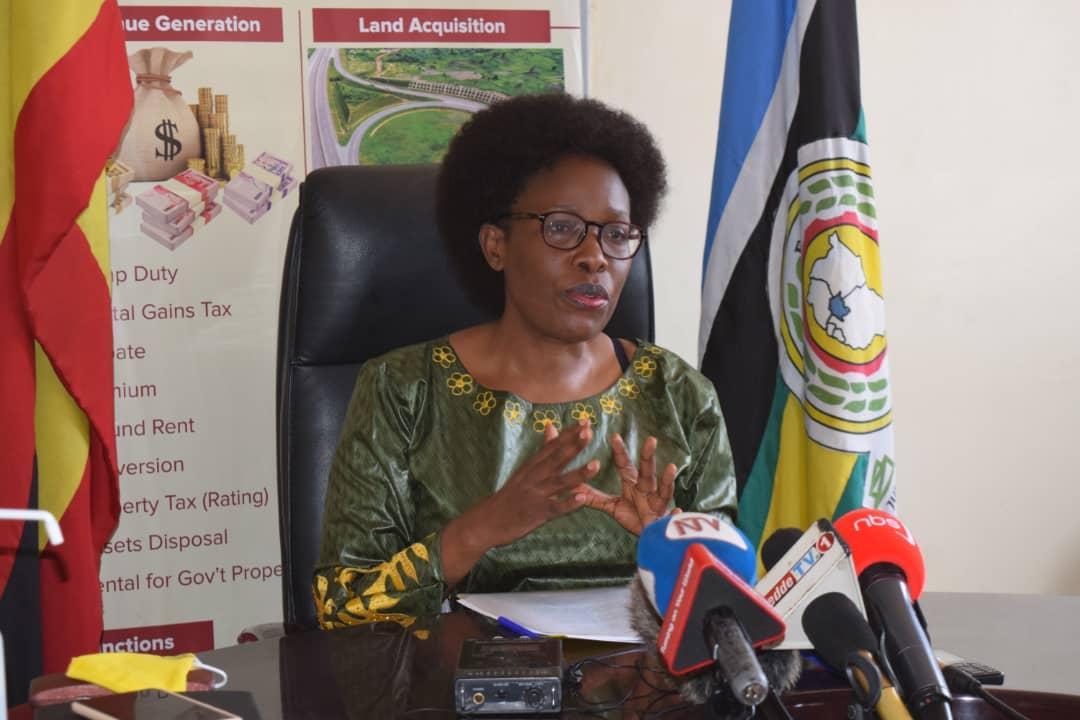 Lands Minister, Judith Nabakooba speaking to the media on Sunday (PHOTO/Courtesy).