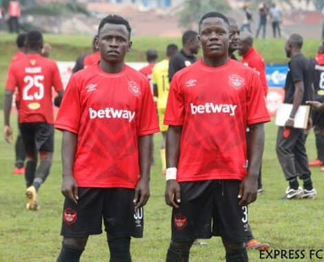 Faizo Ssekyanzi (L) and Ivan Mayanja (R) after a league game last season. (PHOTO/Express FC)