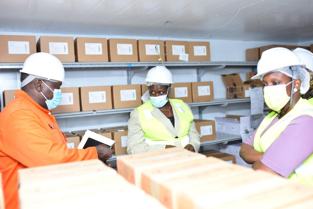 Alupo (middle) with National Medical Stores Officials in Entebbe on Friday (PHOTO/Courtesy).