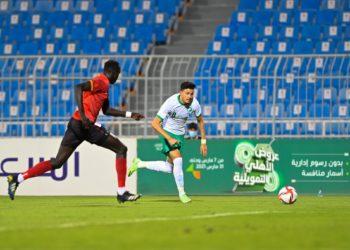 Action between Uganda Kobs and Saudi Arabia at the Faisal Bin Abdulaziz Stadium on Monday. (PHOTO/Courtesy)