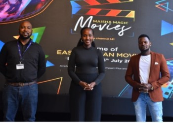 L—R Colin Asiimwe, the Head of Marketing, Joan Semanda Kizza, the PR and Communications Manager at MultiChoice Uganda and popular movie producer and director Richard Mulindwa (PHOTO /Courtesy)