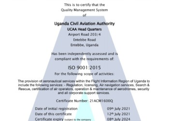 The certification implies that the holder has systems and processes in place that meet the needs of all interested parties in the aviation industry, including statutory and regulatory requirements (PHOTO /Courtesy)