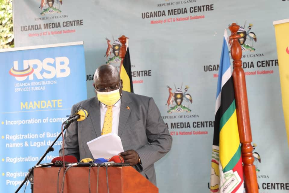 Henry Oryem Okello, State Minister for Foreign Affairs addressing the media at press briefing on Wednesday (PHOTO/Courtesy).
