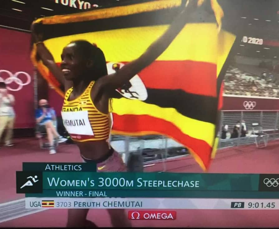 Ms Chemutai raced to a  gold medal, ahead of competition from the USA and Kenya (PHOTO/Screen grab).